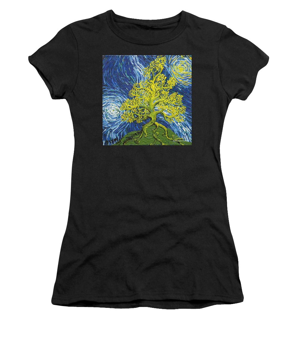 Impressionism Women's T-Shirt featuring the painting Glowing In The Balance by Stefan Duncan