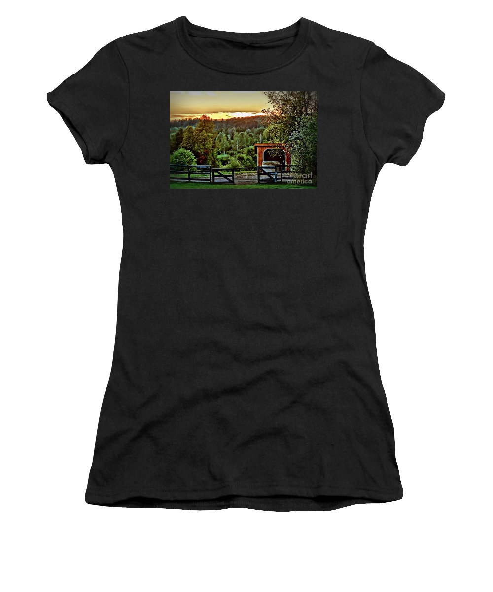 Sunset Women's T-Shirt featuring the photograph Glowing Paddock by Janice Byer