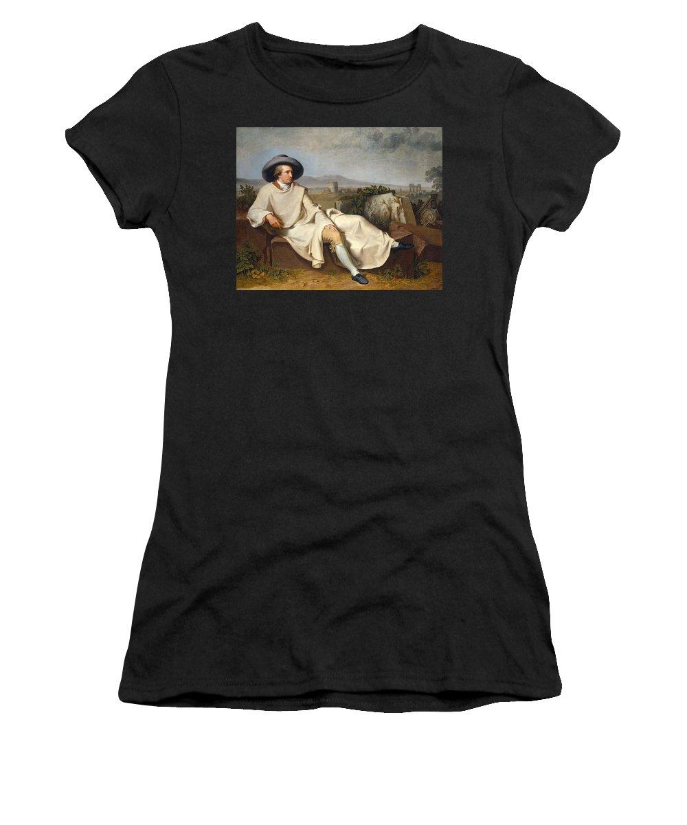 Johann Heinrich Wilhelm Tischbein Women's T-Shirt featuring the painting Goethe In The Roman Campagna by Johann Heinrich Wilhelm Tischbein
