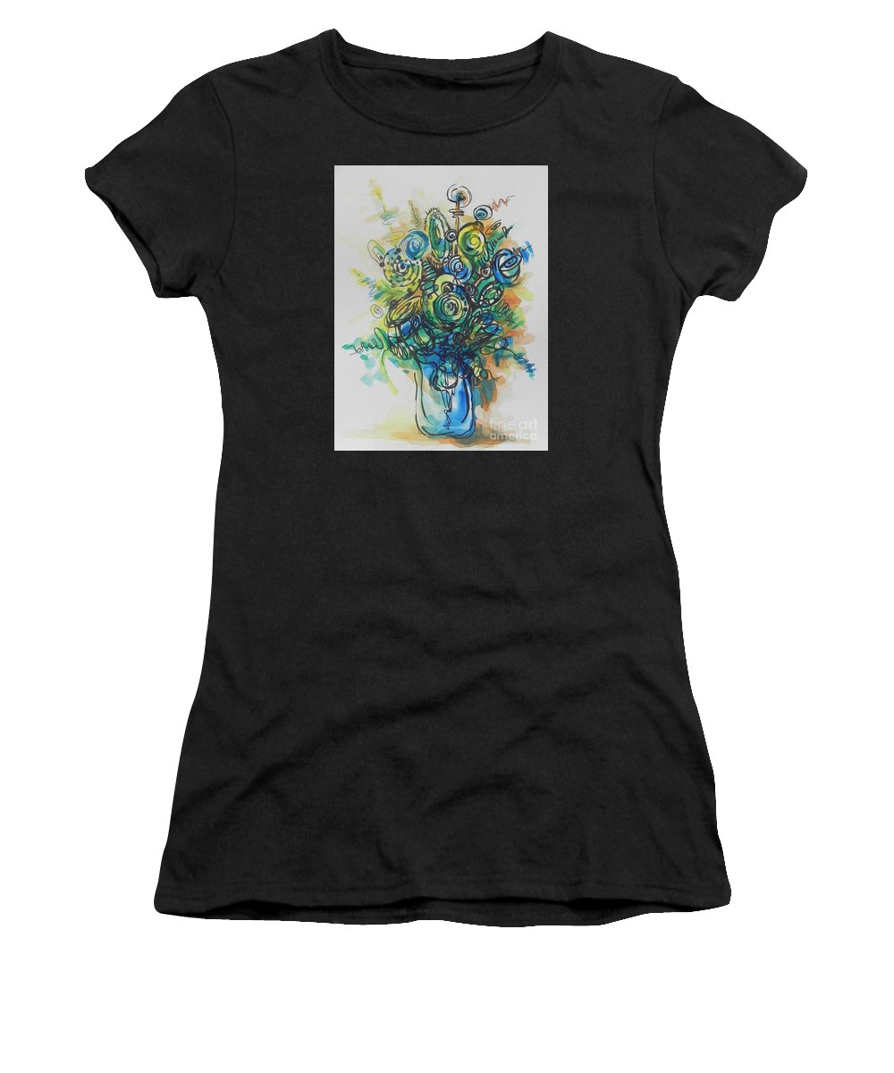 Watercolor Women's T-Shirt featuring the painting Going In Circles by Chrisann Ellis