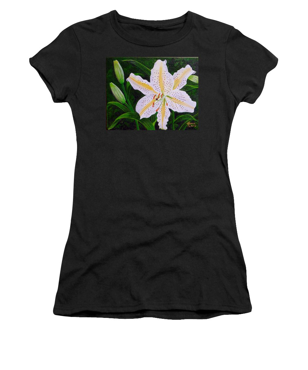 Gold Band Lily Women's T-Shirt featuring the painting Gold Band Lily by Laura Wilson