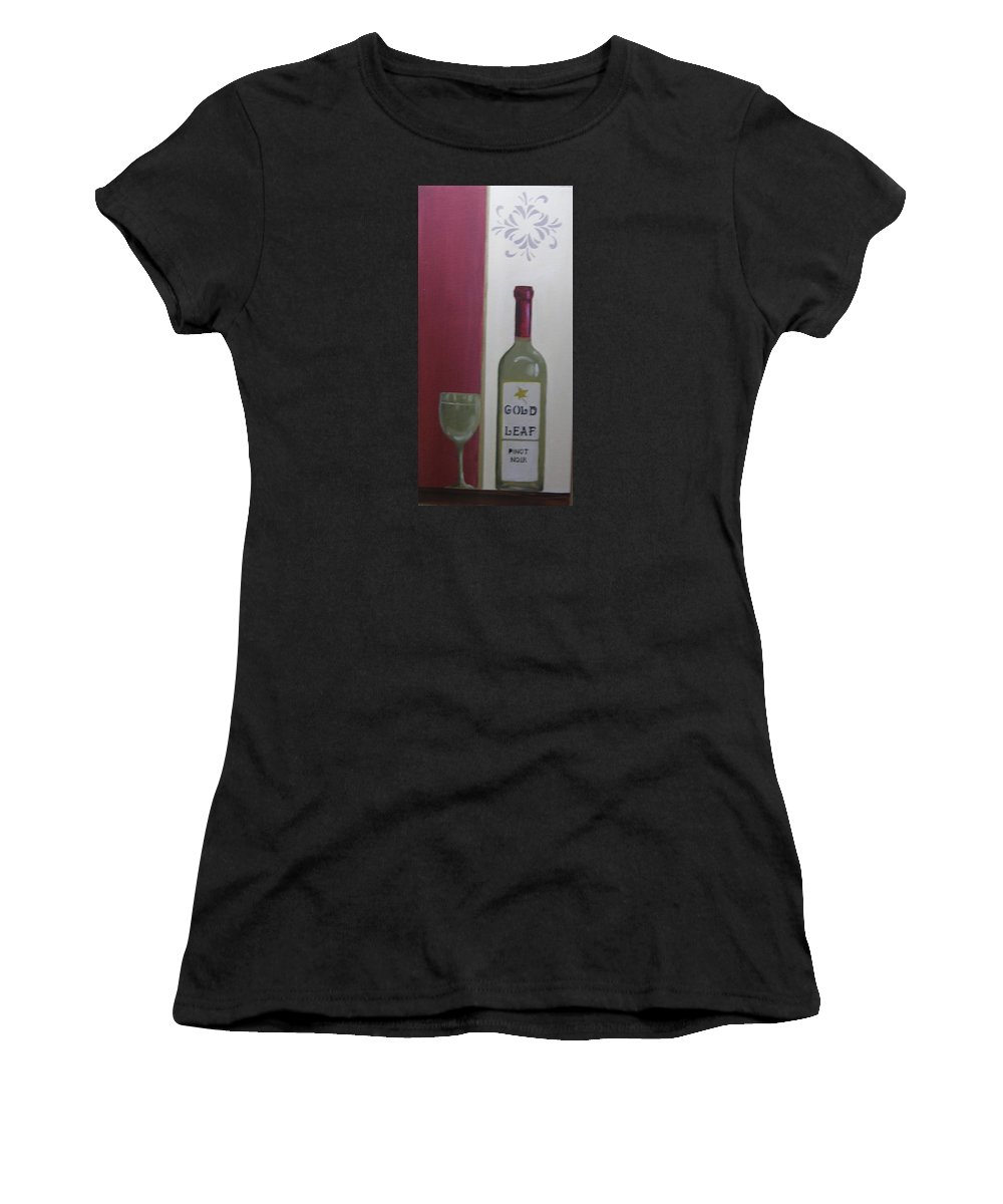 Wine Women's T-Shirt featuring the painting Gold Leaf Winery by Mark Perry