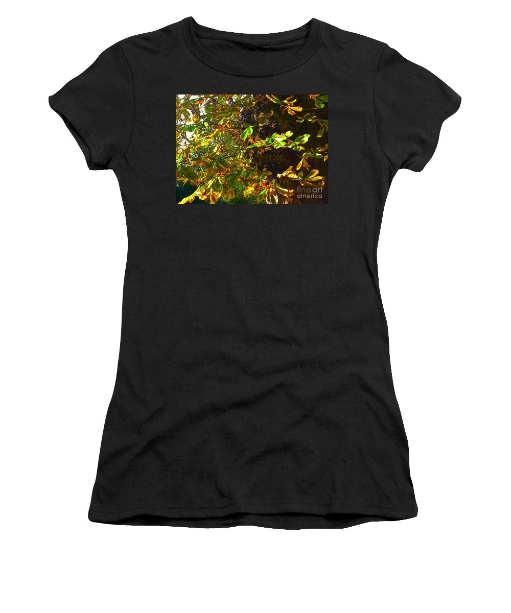 Golden Leaves Women's T-Shirt (Athletic Fit) featuring the photograph Golden Autumn by Joan-Violet Stretch