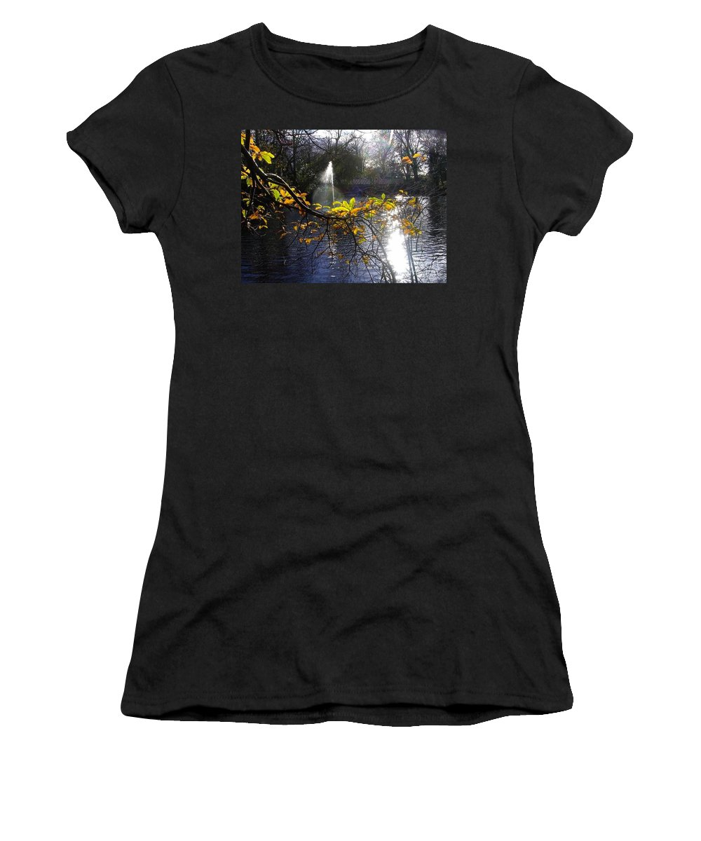 Golden Leaves Women's T-Shirt (Athletic Fit) featuring the photograph Golden Branch by Joan-Violet Stretch