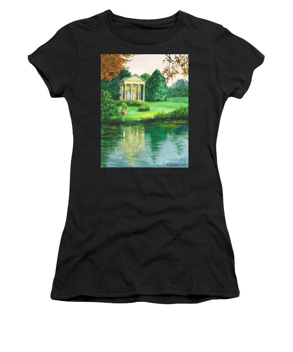 Landscape Women's T-Shirt (Athletic Fit) featuring the painting Golden Cottage by Margaryta Yermolayeva