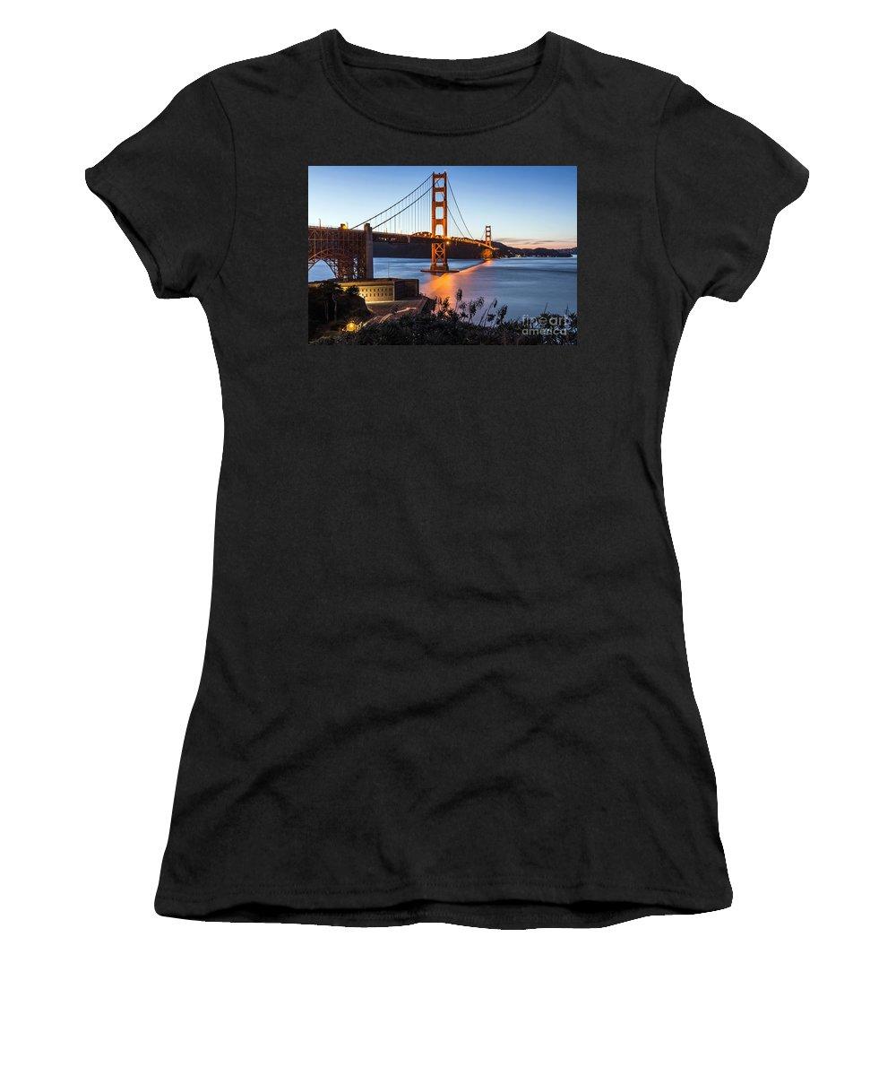 Golden Gate Bridge Women's T-Shirt featuring the photograph Golden Gate Night by Kate Brown