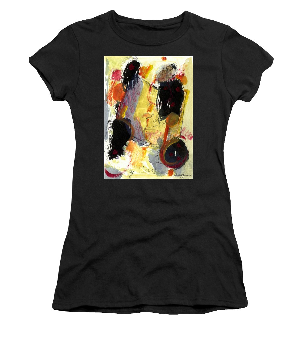 Abstract Art Women's T-Shirt (Athletic Fit) featuring the painting Golden Moon by Stephen Lucas