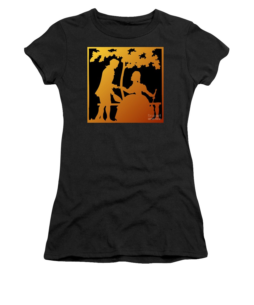 Will You Marry Me Women's T-Shirt featuring the digital art Golden Silhouette Garden Proposal Will You Marry Me by Rose Santuci-Sofranko