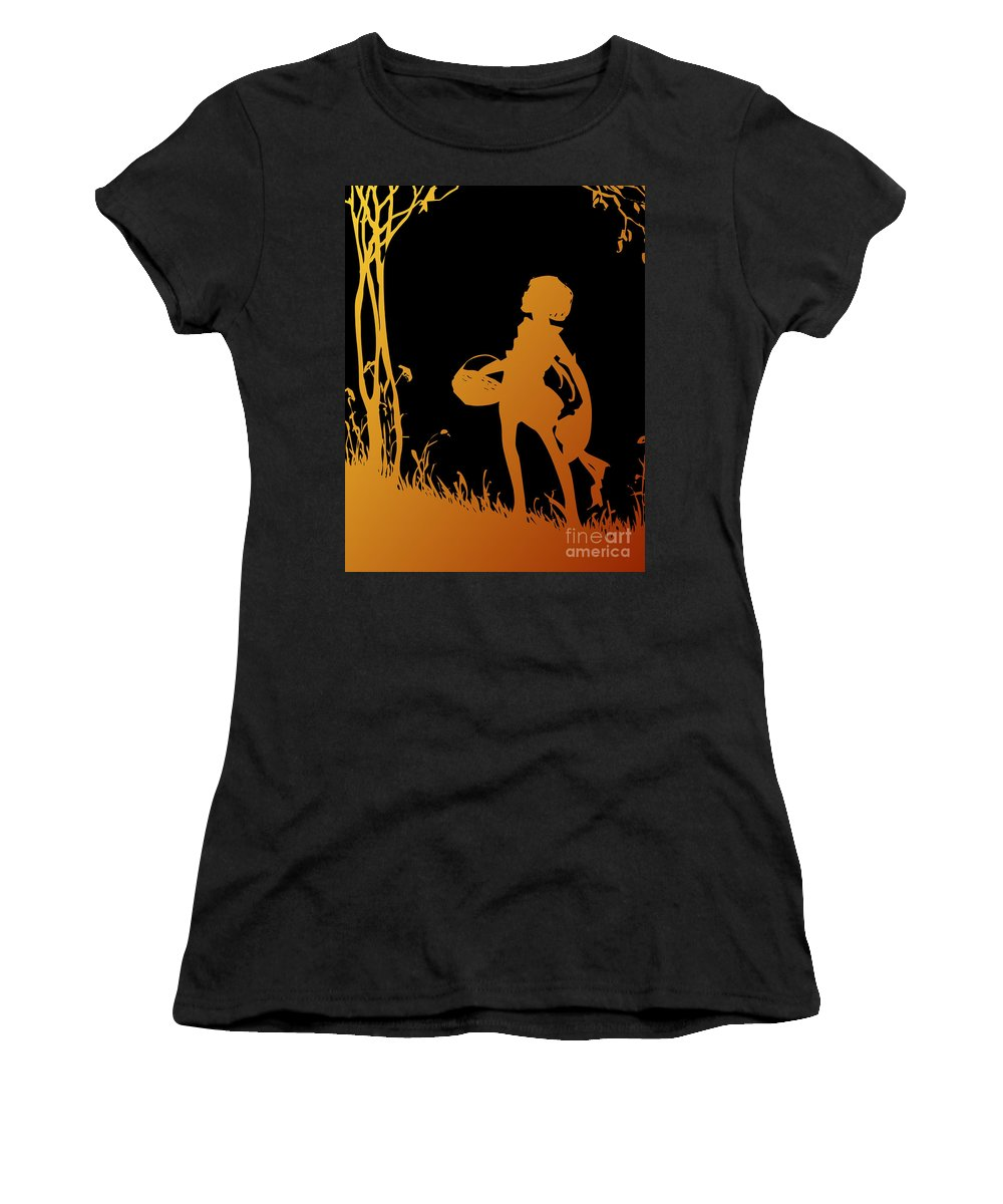 Child Walking In The Woods Women's T-Shirt featuring the digital art Golden Silhouette Of Child With Basket Walking In The Woods by Rose Santuci-Sofranko