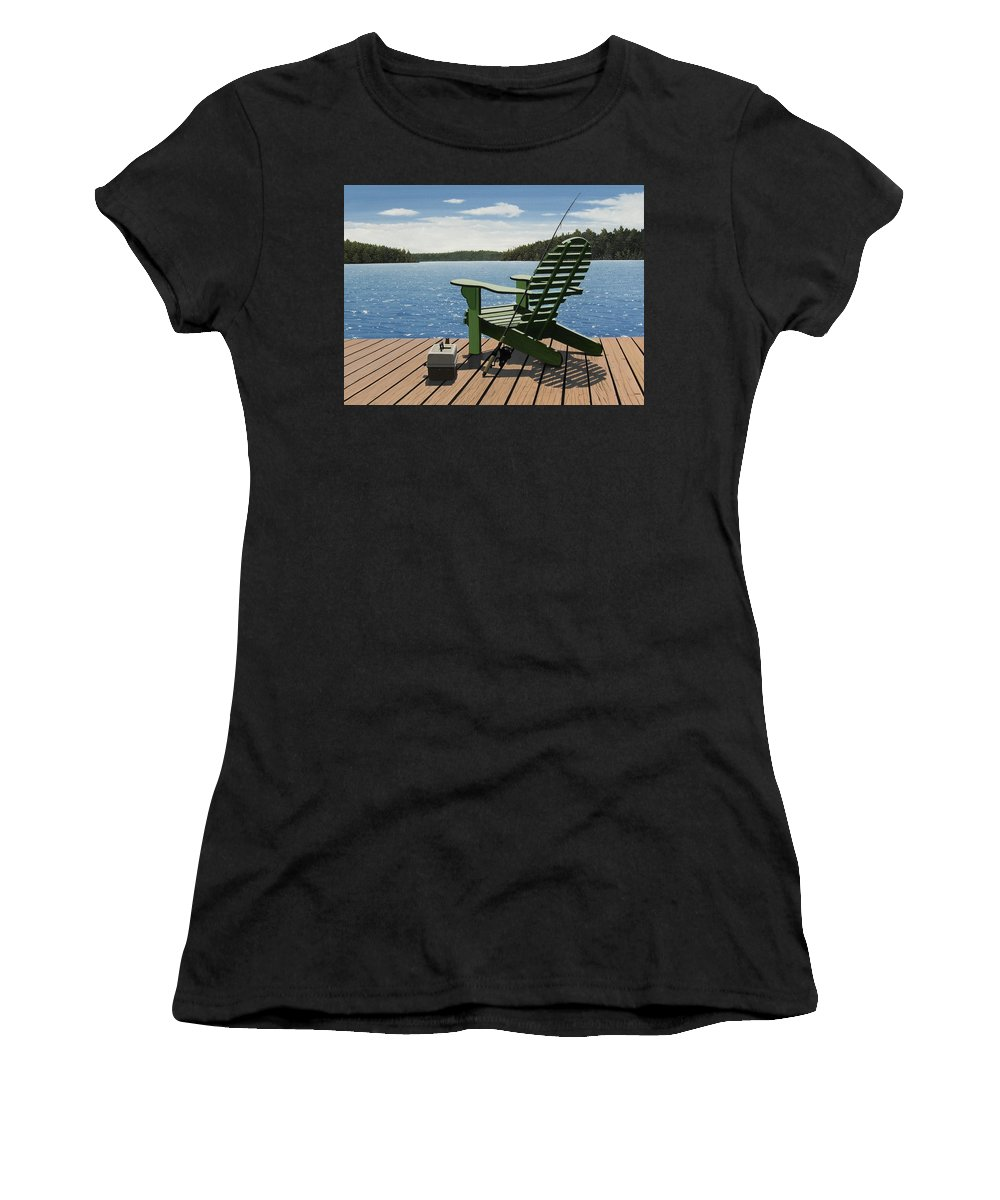 Landscapes Women's T-Shirt (Athletic Fit) featuring the painting Gone Fishing Aka Fishing Chair by Kenneth M Kirsch