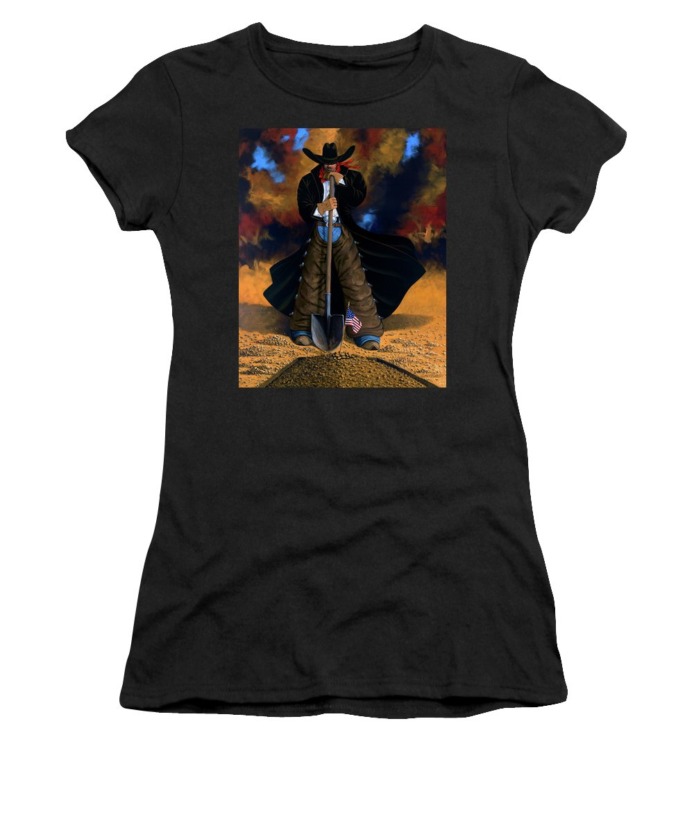Cowgirl Women's T-Shirt (Athletic Fit) featuring the painting Gone Too Soon by Lance Headlee