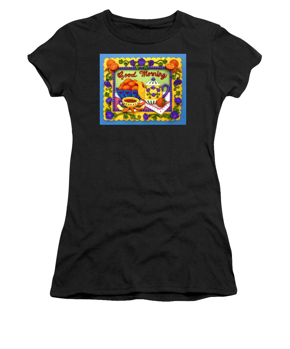 Food Women's T-Shirt featuring the mixed media Good Morning by Amy Vangsgard
