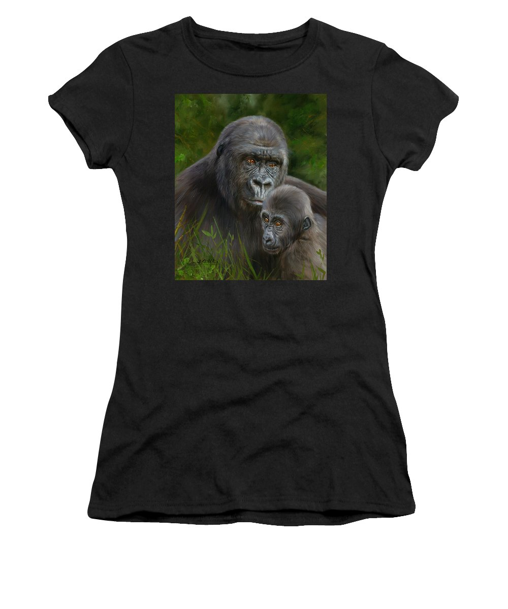 Gorilla Women's T-Shirt (Athletic Fit) featuring the painting Gorilla And Baby by David Stribbling