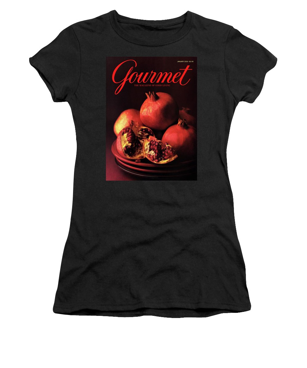Food Women's T-Shirt featuring the photograph Gourmet Cover Featuring A Plate Of Pomegranates by Romulo Yanes