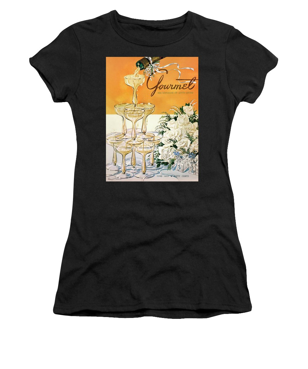 Entertainment Women's T-Shirt featuring the photograph Gourmet Cover Featuring A Pyramid Of Champagne by Henry Stahlhut