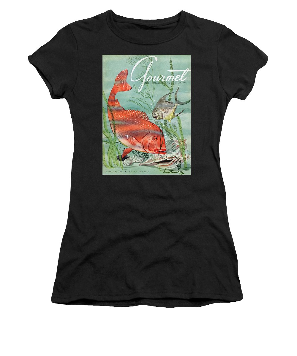 Illustration Women's T-Shirt featuring the photograph Gourmet Cover Featuring A Snapper And Pompano by Henry Stahlhut
