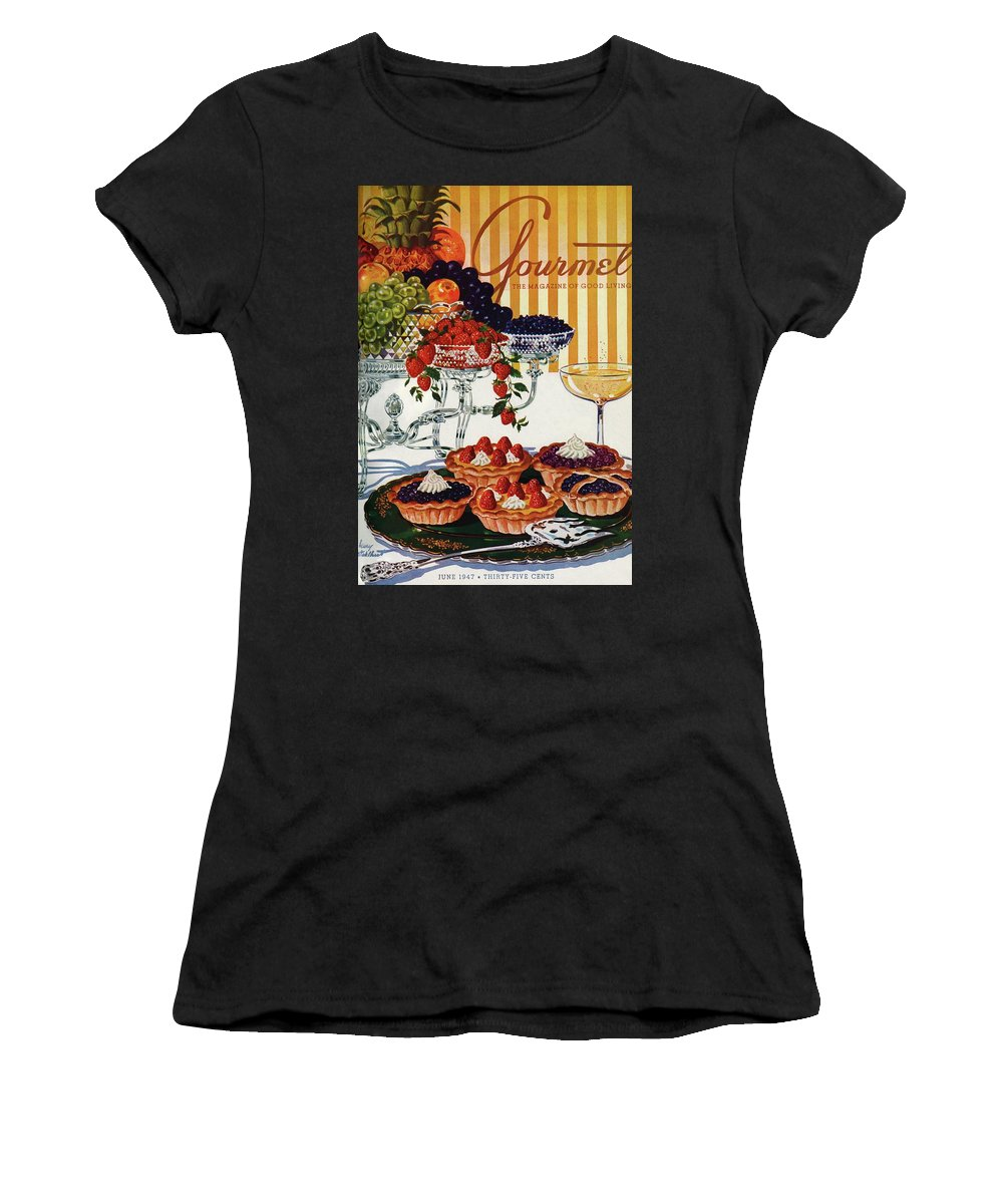 Food Women's T-Shirt featuring the photograph Gourmet Cover Of Fruit Tarts by Henry Stahlhut