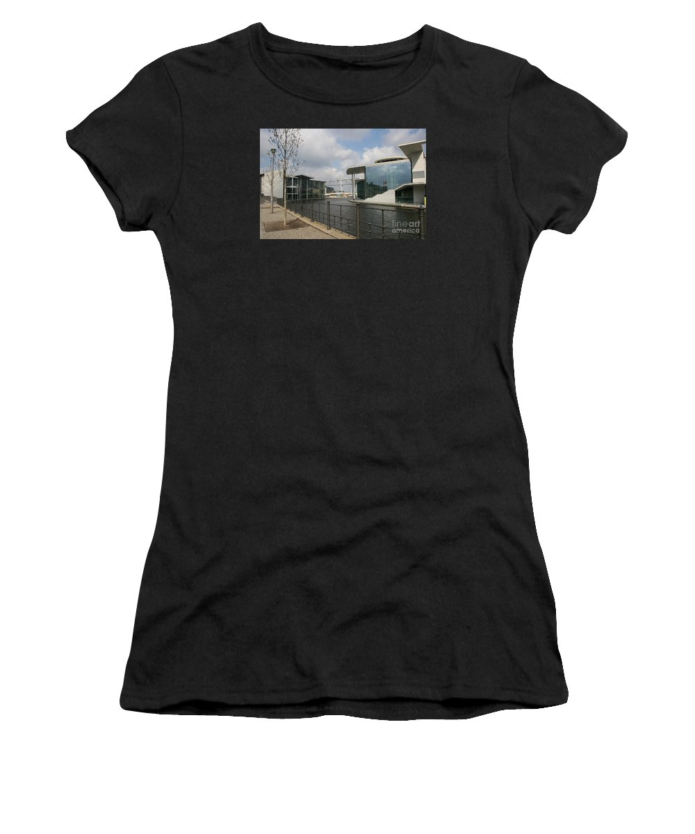 Goverment Building Women's T-Shirt (Athletic Fit) featuring the photograph Government Building And Spree by Christiane Schulze Art And Photography