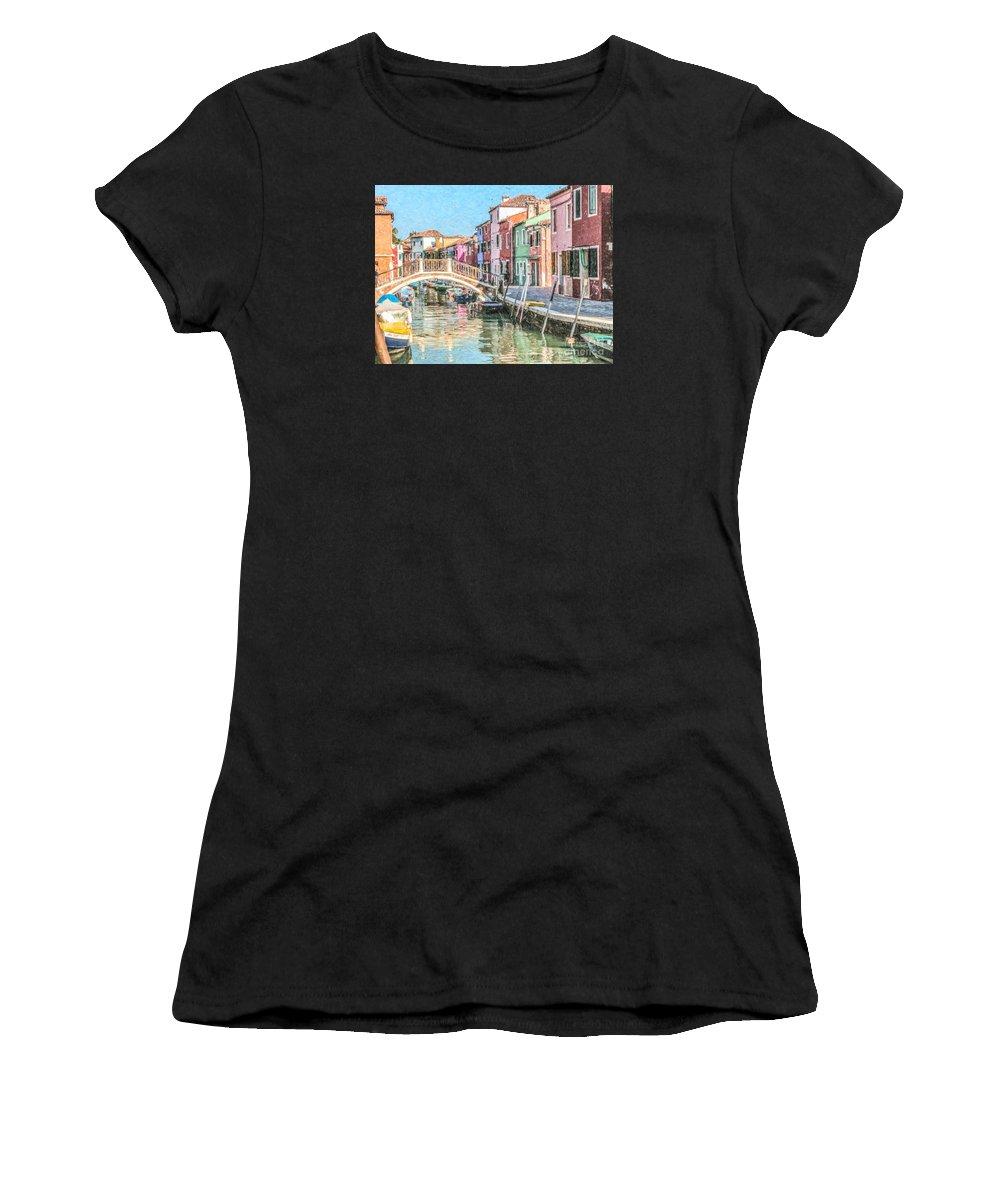 Burano Women's T-Shirt featuring the digital art Grand Canal Burano Venice by Liz Leyden