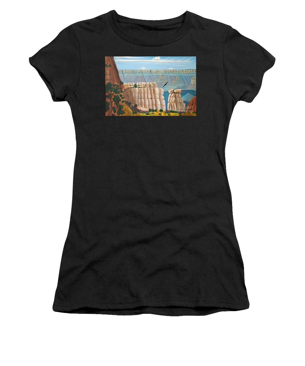 Grand Canyon Women's T-Shirt (Athletic Fit) featuring the painting Grand Canyon by Don Monahan