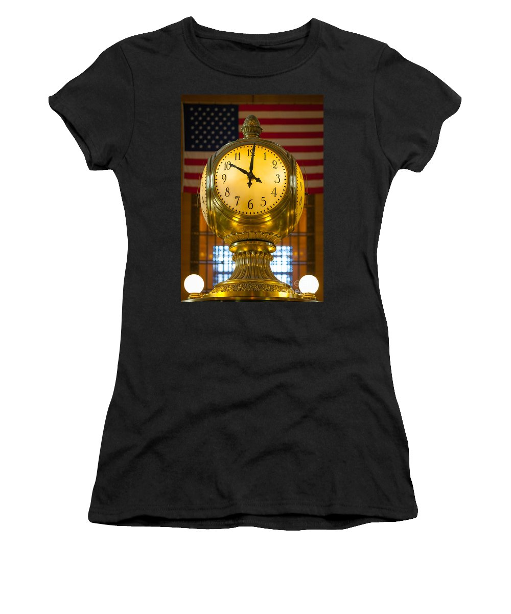 America Women's T-Shirt (Athletic Fit) featuring the photograph Grand Central Clock by Inge Johnsson
