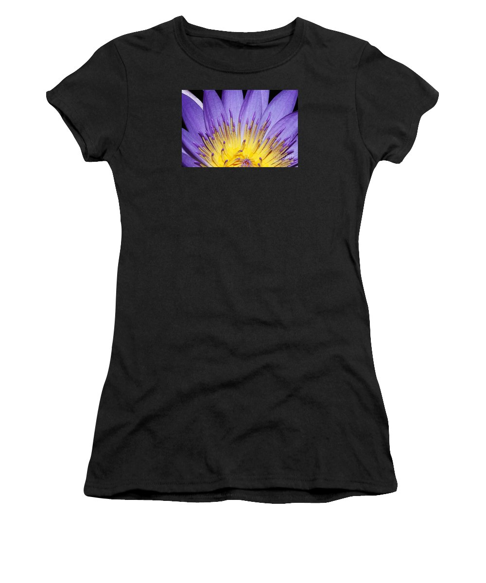Royal Purple Water Lily Women's T-Shirt featuring the photograph Grand Opening by Judy Whitton