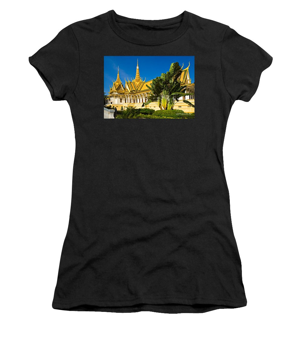Cambodia Women's T-Shirt (Athletic Fit) featuring the photograph Grand Palace - Cambodia by Luciano Mortula