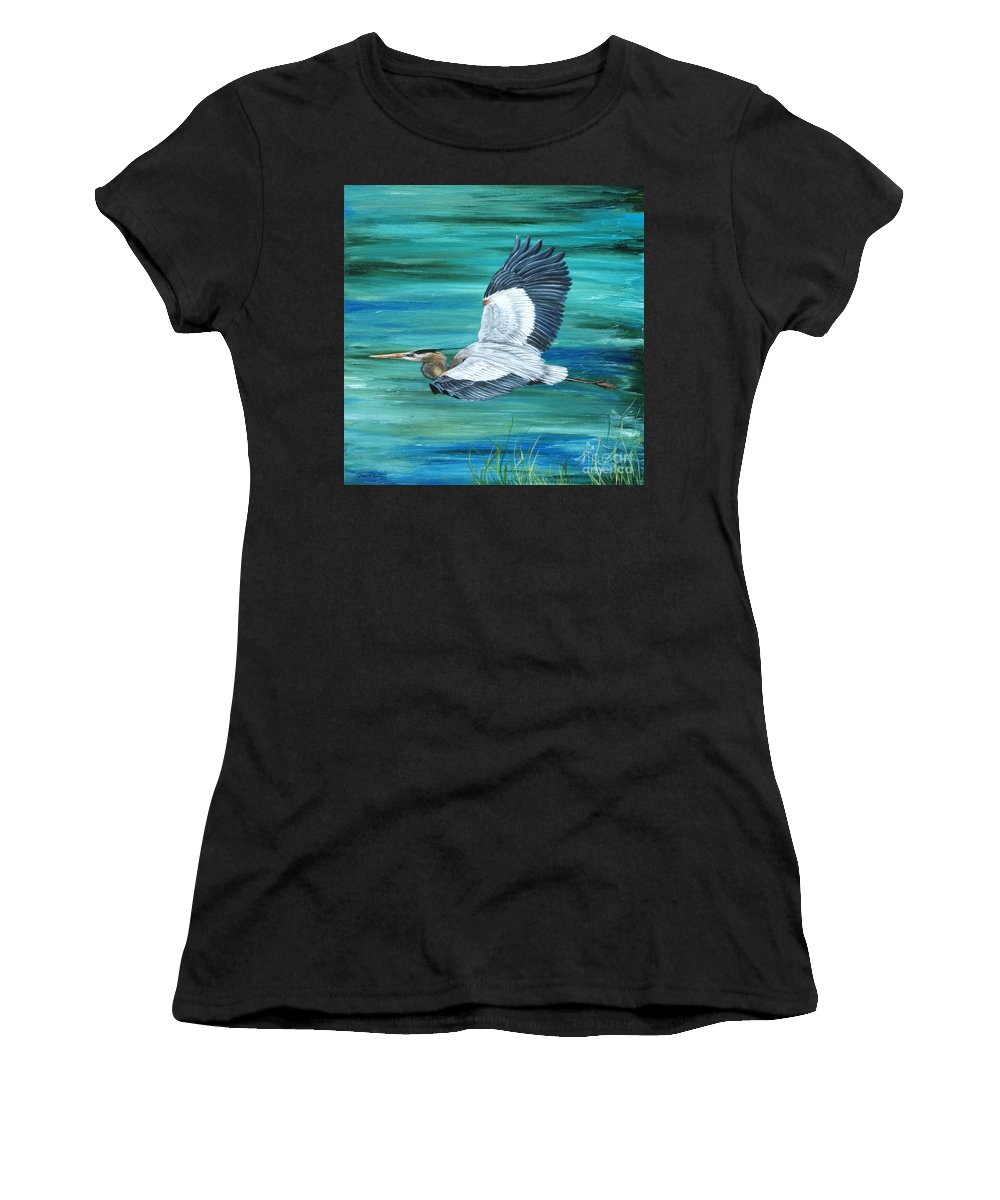 Blue Heron Women's T-Shirt (Athletic Fit) featuring the painting Great Blue Heron-3a by Jean Plout