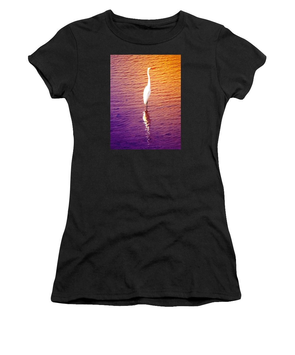 Great Heron Women's T-Shirt featuring the photograph Great Egret At Sundown by Ann Michelle Smith
