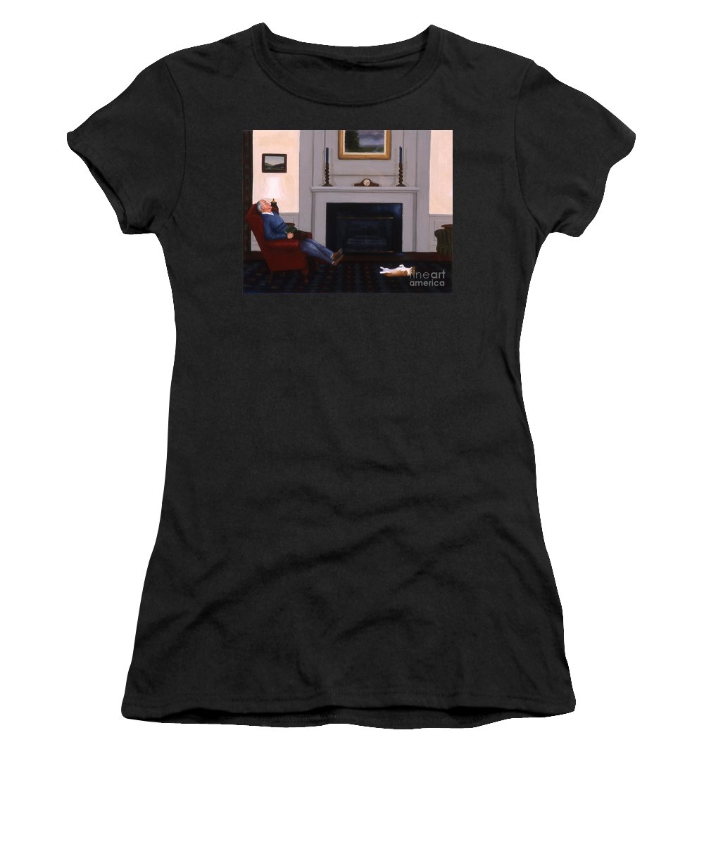 Dog Women's T-Shirt (Athletic Fit) featuring the painting Great Minds Think Alike by Phyllis Andrews