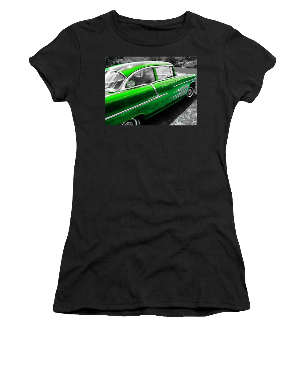 Green Chevy Women's T-Shirt featuring the photograph Green 1957 Chevy by Sherman Perry