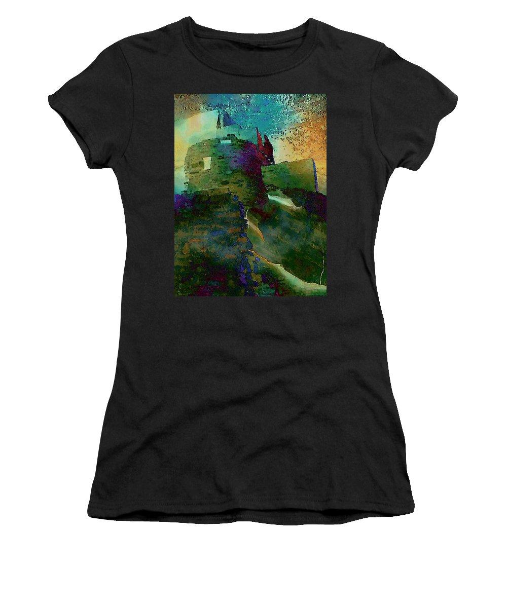 Digital Women's T-Shirt (Athletic Fit) featuring the digital art Green Castle by David Hansen