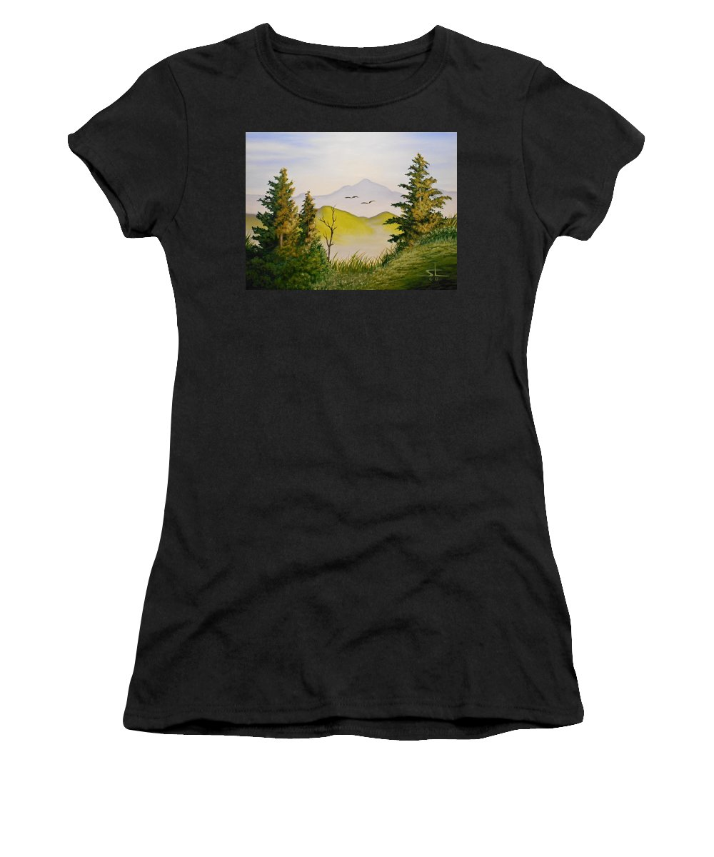 Green Pastures Women's T-Shirt (Athletic Fit) featuring the painting Green Pastures by Sam Loveless