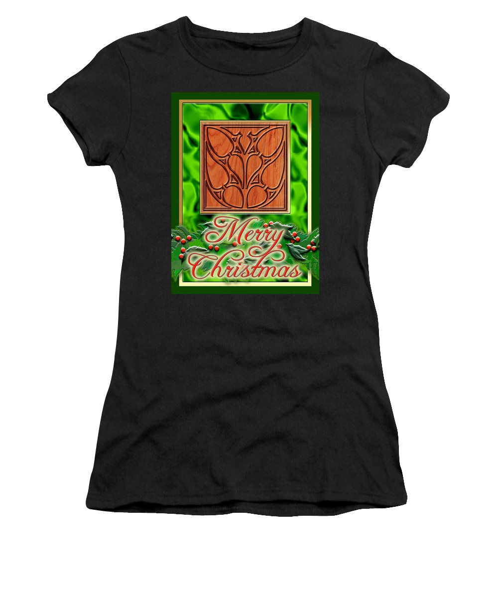 Christmas Women's T-Shirt featuring the digital art Green Satin Merry Christmas by Melissa A Benson