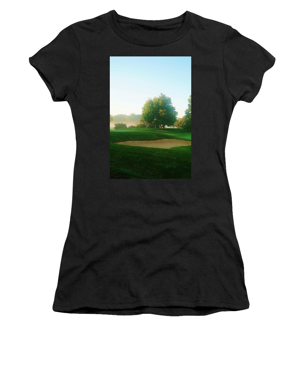 Golf Women's T-Shirt (Athletic Fit) featuring the photograph Green Side At Sunrise by Daniel Thompson