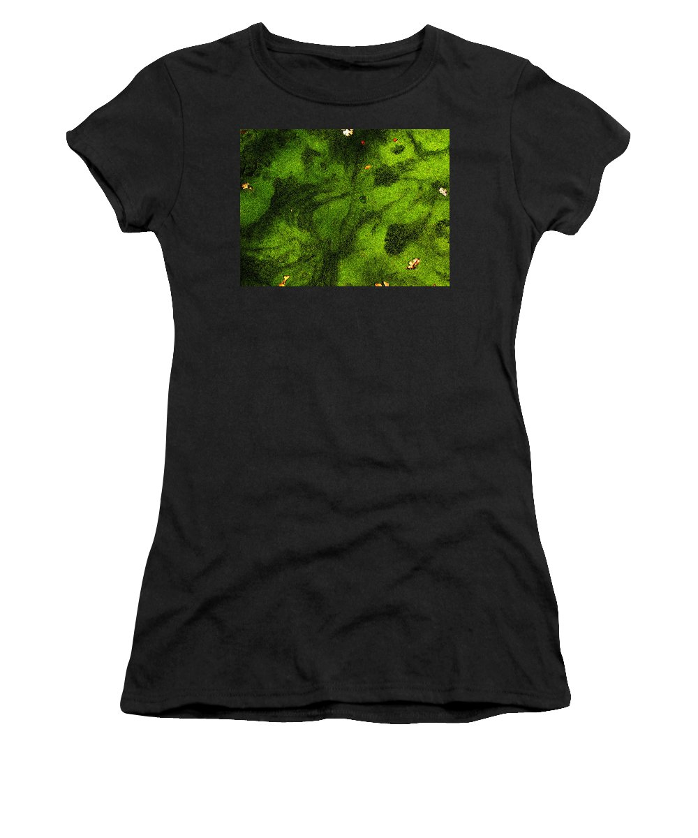 Green Women's T-Shirt (Athletic Fit) featuring the photograph Green Surface by Robert Woodward