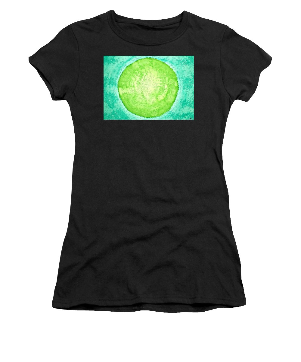 Ink Women's T-Shirt (Athletic Fit) featuring the painting Green World Original Painting by Sol Luckman