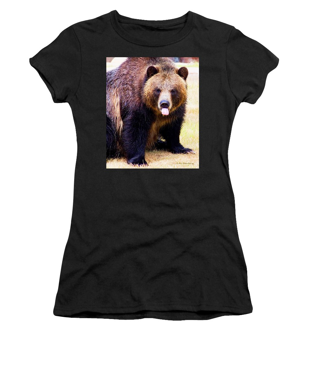 Grizzly Bear Women's T-Shirt featuring the photograph Grizzly Bear 1 by Walter Herrit