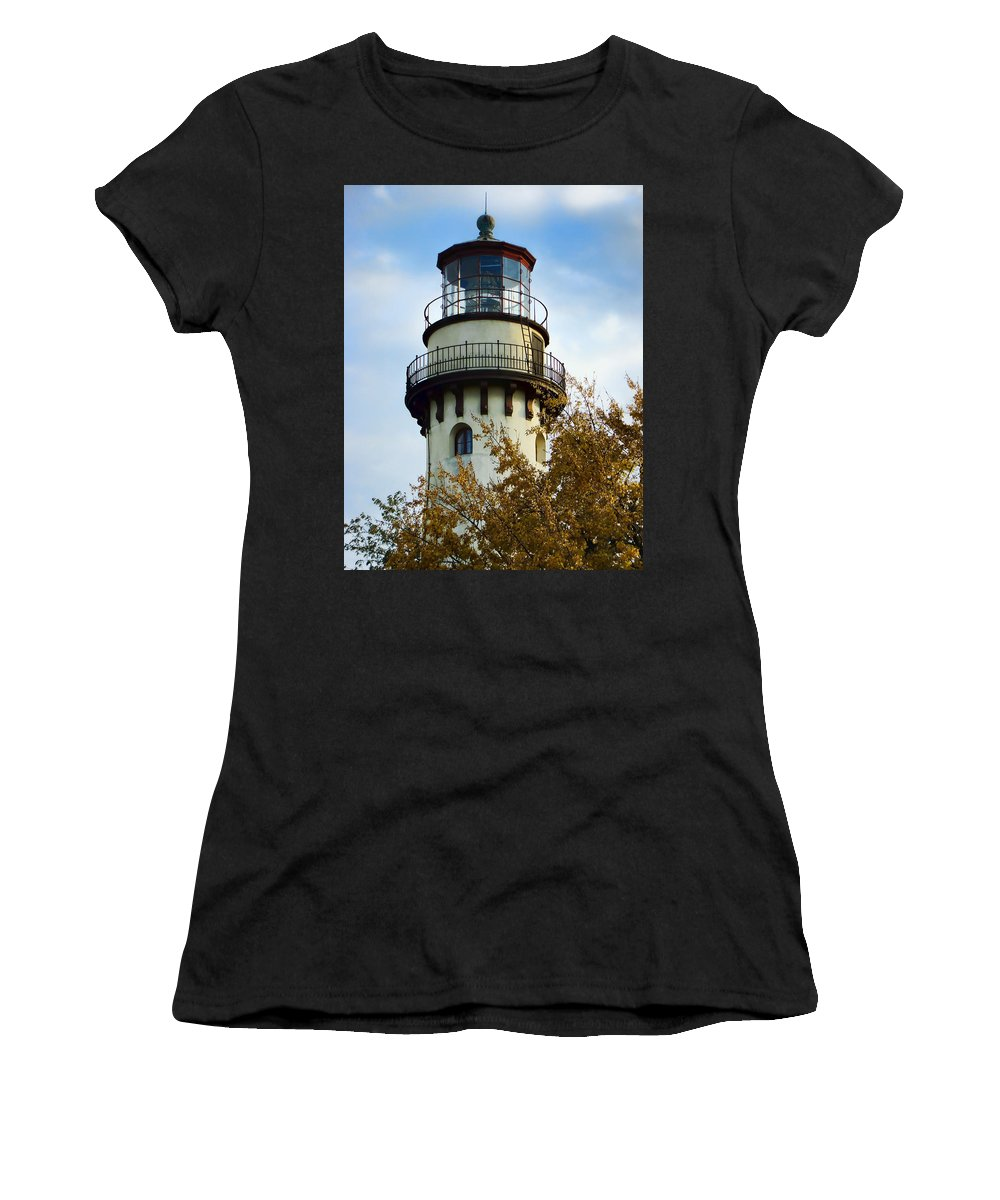 Grosse Point Lighthouse Women's T-Shirt (Athletic Fit) featuring the photograph Grosse Point Lighthouse by Phyllis Taylor