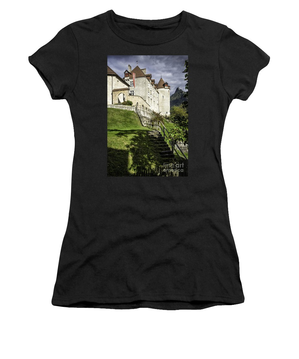 Leysin Women's T-Shirt (Athletic Fit) featuring the photograph Gruyeres Castle by Timothy Hacker