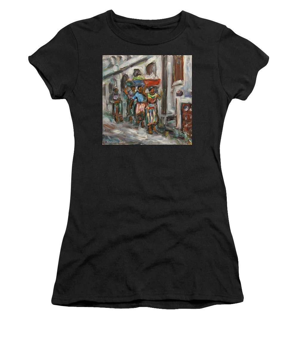 Mayan Women's T-Shirt (Athletic Fit) featuring the painting Guatemala Impression V - Left Hand 1 by Xueling Zou