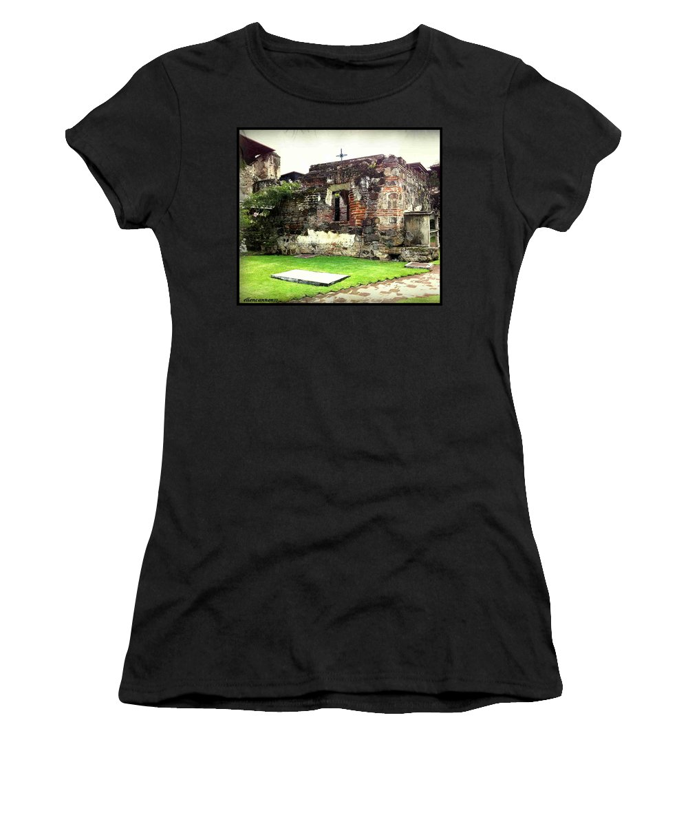 Ruins Women's T-Shirt (Athletic Fit) featuring the photograph Guatemalan Church Courtyard Ruins by Ellen Cannon