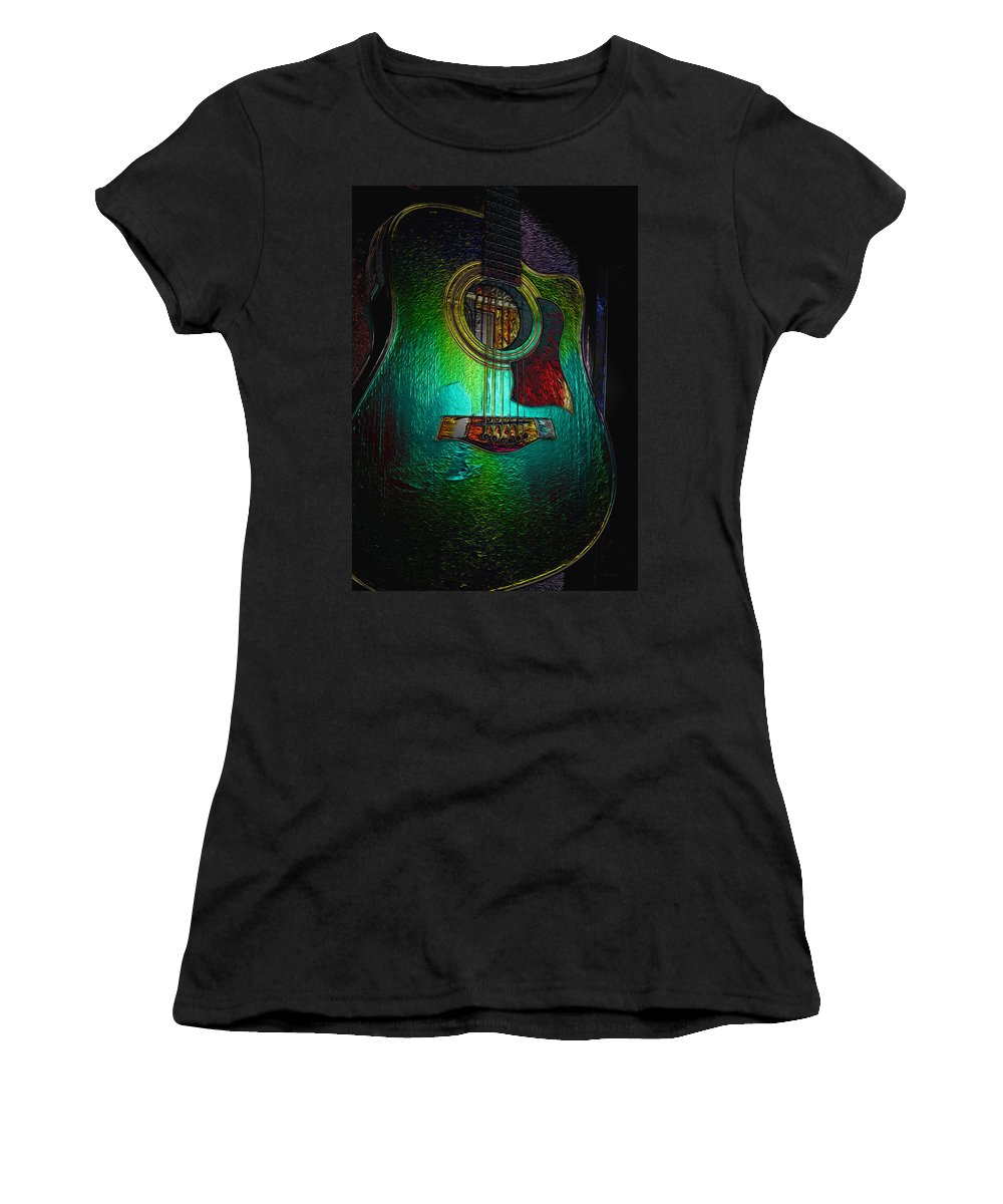Guitar Art Women's T-Shirt (Athletic Fit) featuring the photograph Guitar Metalica by P Donovan