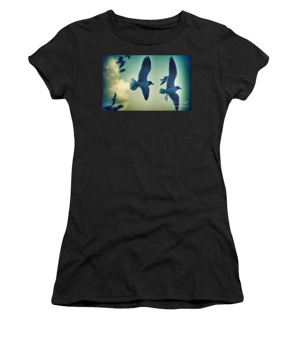 Seagulls Women's T-Shirt featuring the photograph Gulls by Paulo Guimaraes
