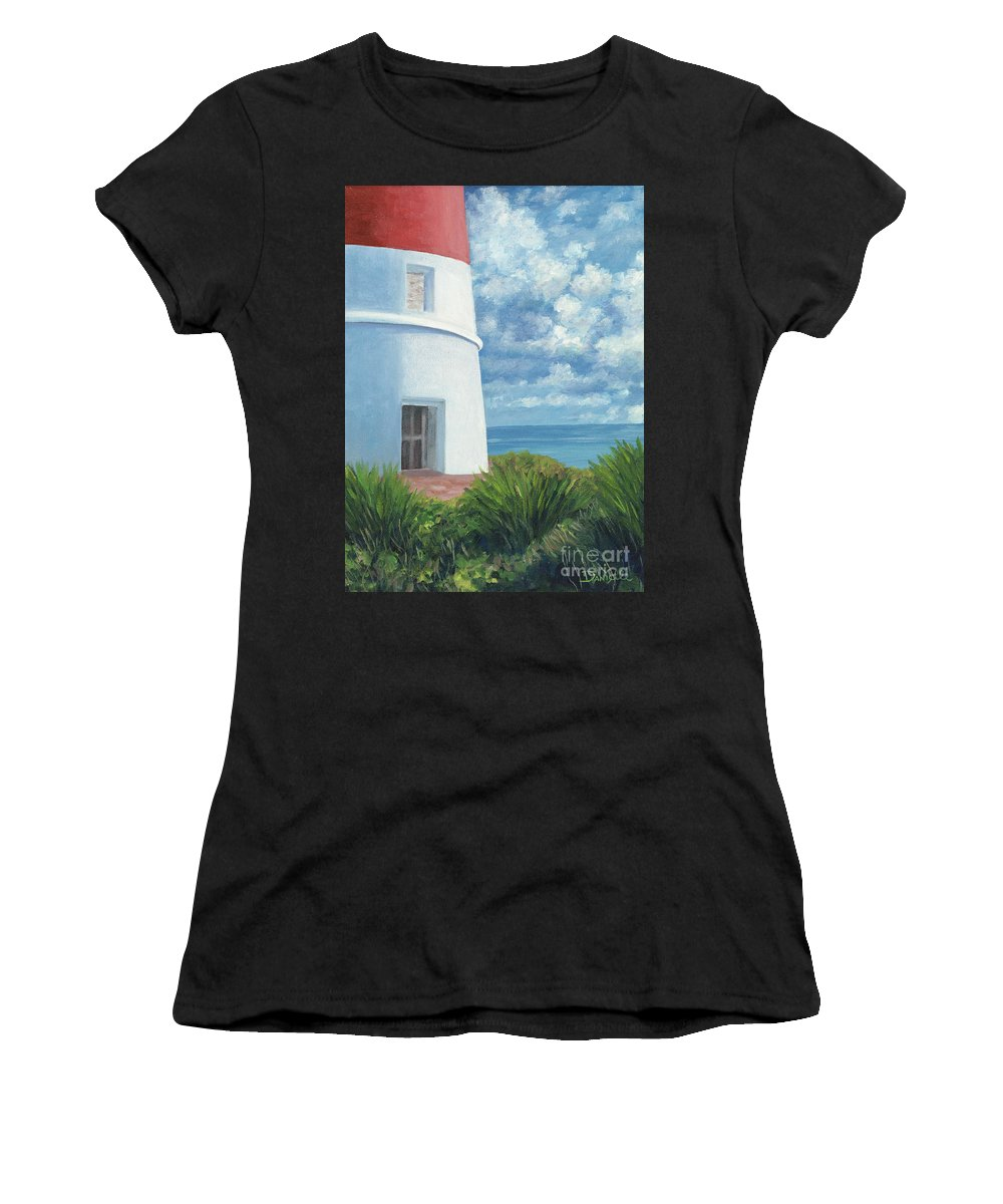 Seascape Women's T-Shirt (Athletic Fit) featuring the painting Gun Cay Lighthouse by Danielle Perry
