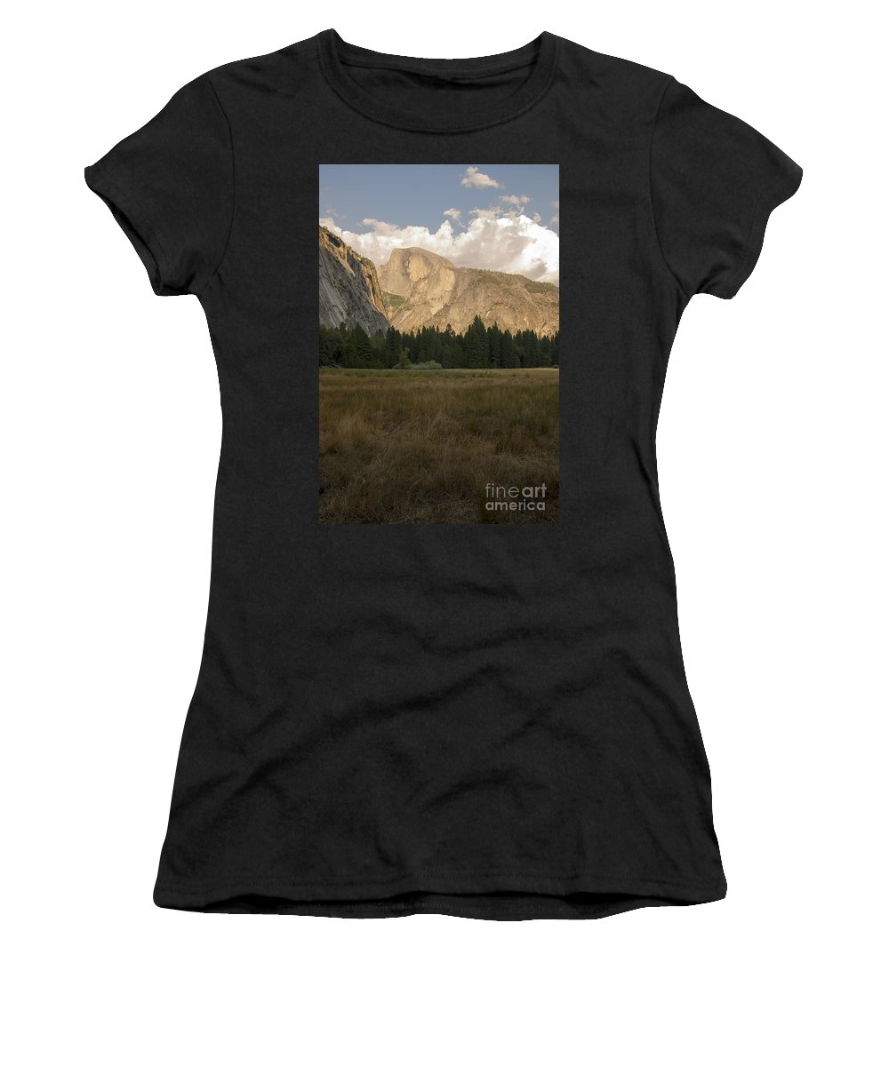 Yosemite National Park California Half Dome Landscape Landscapes Landmark Landmarks Fir Tree Trees Mountain Mountains Parks Grass Grasses Valley Valleys Sunset Sunsets Women's T-Shirt (Athletic Fit) featuring the photograph Half Dome And The Yosemite Valley by Bob Phillips