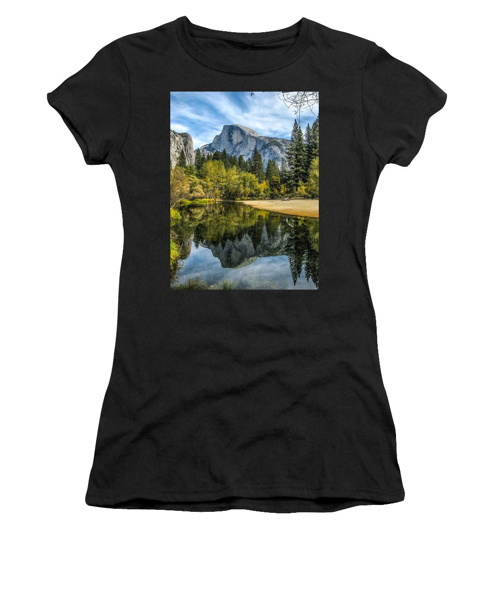 Half Dome Women's T-Shirt (Athletic Fit) featuring the photograph Half Dome Reflected In The Merced River by John Haldane