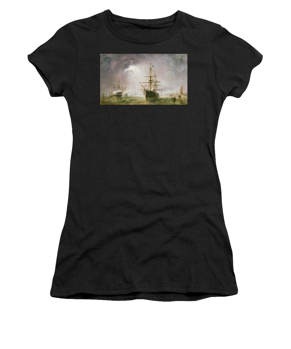 Sea; Battle Women's T-Shirt (Athletic Fit) featuring the painting Half Mast High 19th Century by Robert Dudley