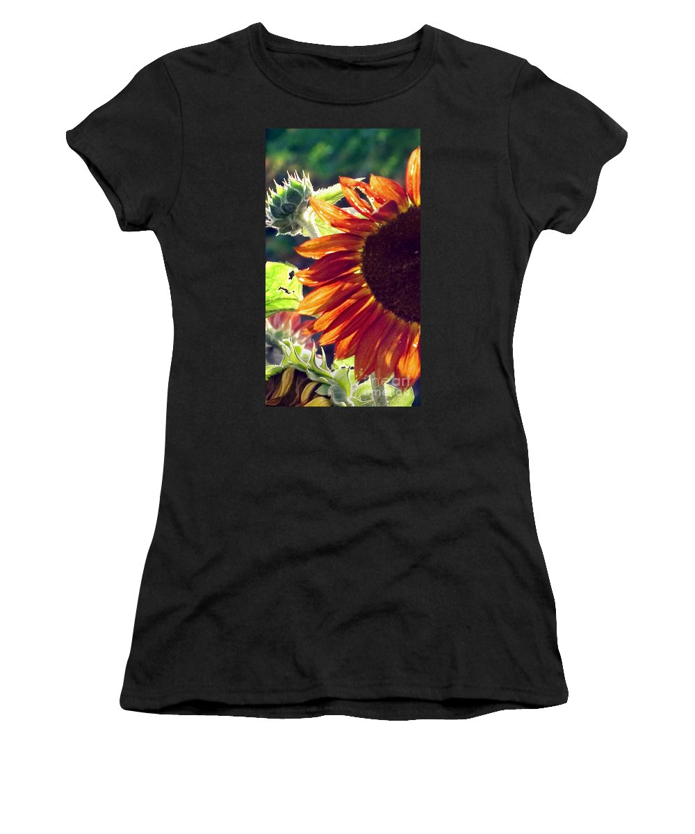 Sunflower Women's T-Shirt (Athletic Fit) featuring the photograph Half Of A Sunflower by Madeline Ellis