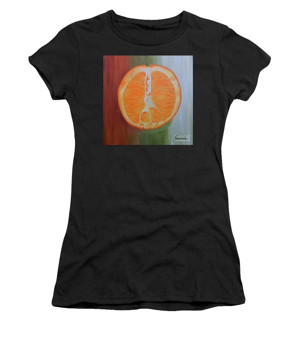 Fruit Women's T-Shirt (Athletic Fit) featuring the painting Half Orange by Graciela Castro